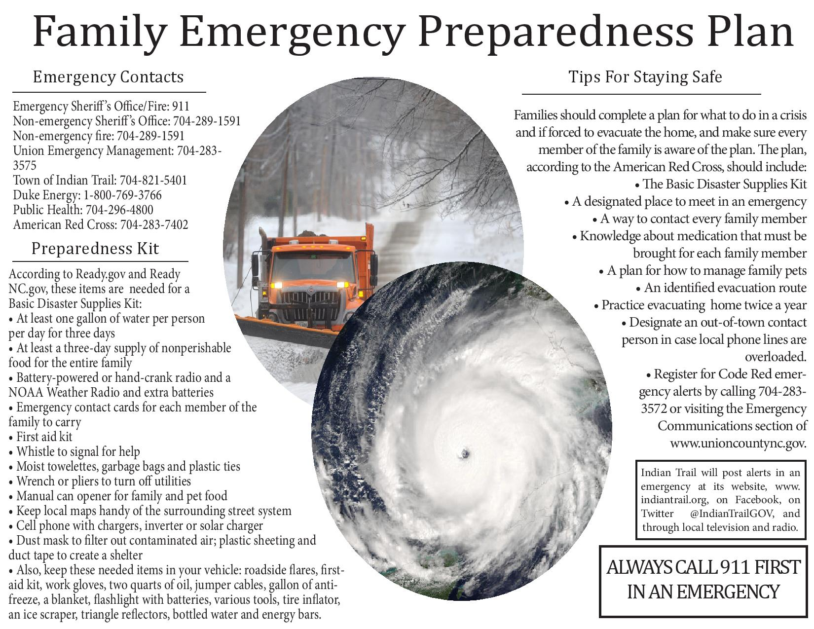 Indian Trail emergency plan flyer