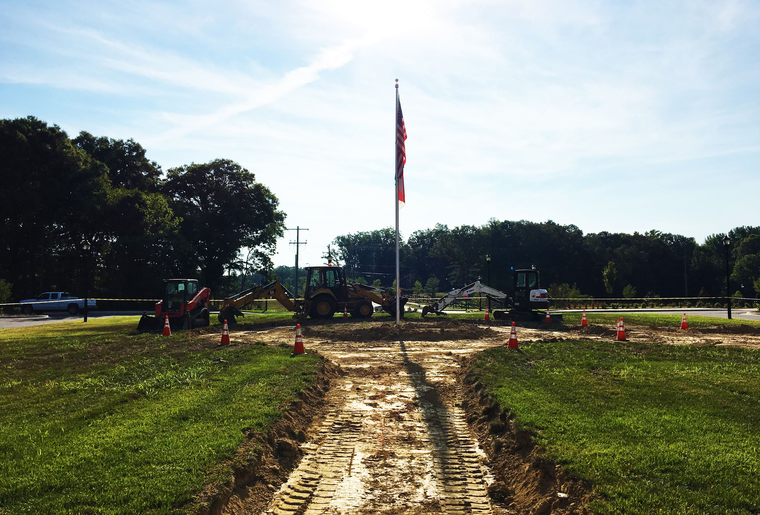 The beginning of the Indian Trail Veterans Memorial Garden shown from groundlevel.
