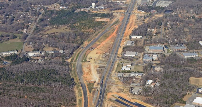 An overhead image of construction on the Monroe Expressway