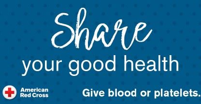 The words Share Your Good Health on blue background with the Red Cross Logo in bottom left corner.