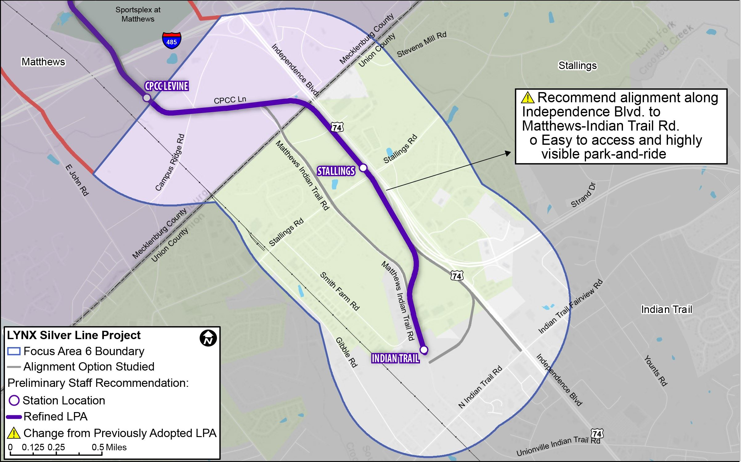 Map showing the Union County Extensions for the proposed LYNX Silver Line.